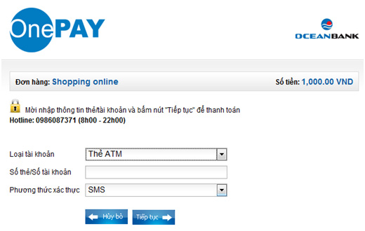 ocean-bank-06 Hướng dẫn thanh toán trực tuyến bằng thẻ nội địa OceanBank