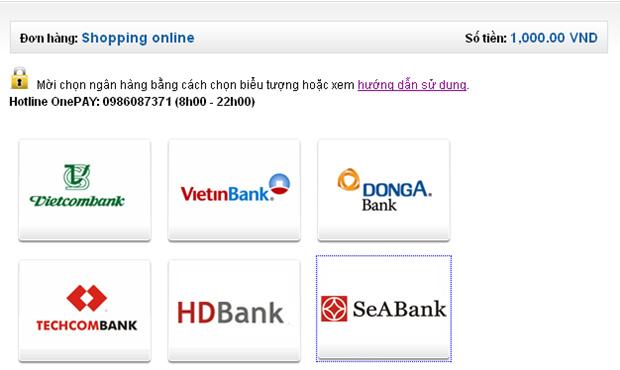 seabank-01 Hướng dẫn thanh toán trực tuyến bằng thẻ nội địa SeABank