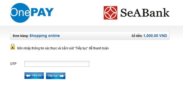 seabank-03 Hướng dẫn thanh toán trực tuyến bằng thẻ nội địa SeABank