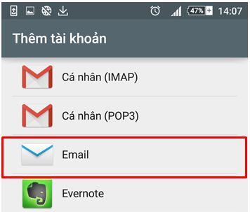 B3 Hướng dẫn tạo mail trên android