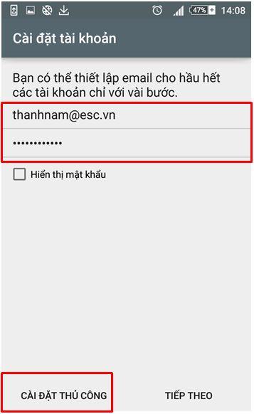 B4 Hướng dẫn tạo mail trên android