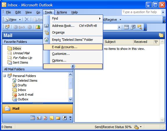 2k3 Hướng dẫn cấu hình Microsoft Outlook 2003