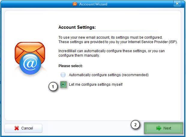 ire7 Hướng dẫn cấu hình email account IncrediMail