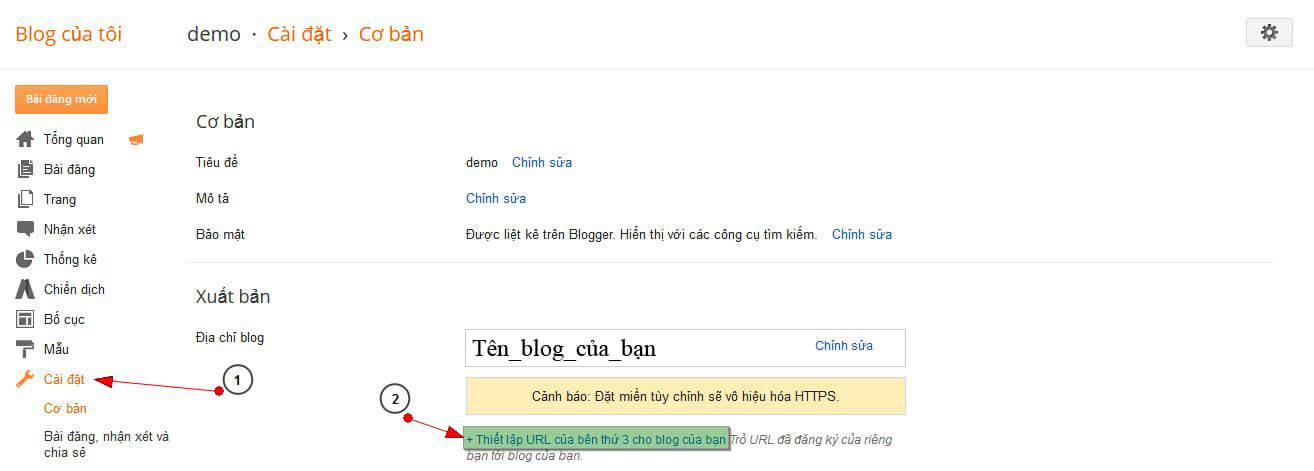 bloger Hướng dẫn trỏ tên miền đến blog của bạn