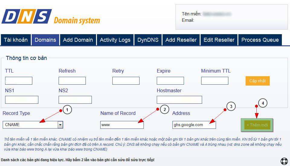 bloger5 Hướng dẫn trỏ tên miền đến blog của bạn