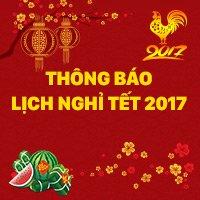 Thông báo lịch nghỉ Tết Dương Lịch 2017