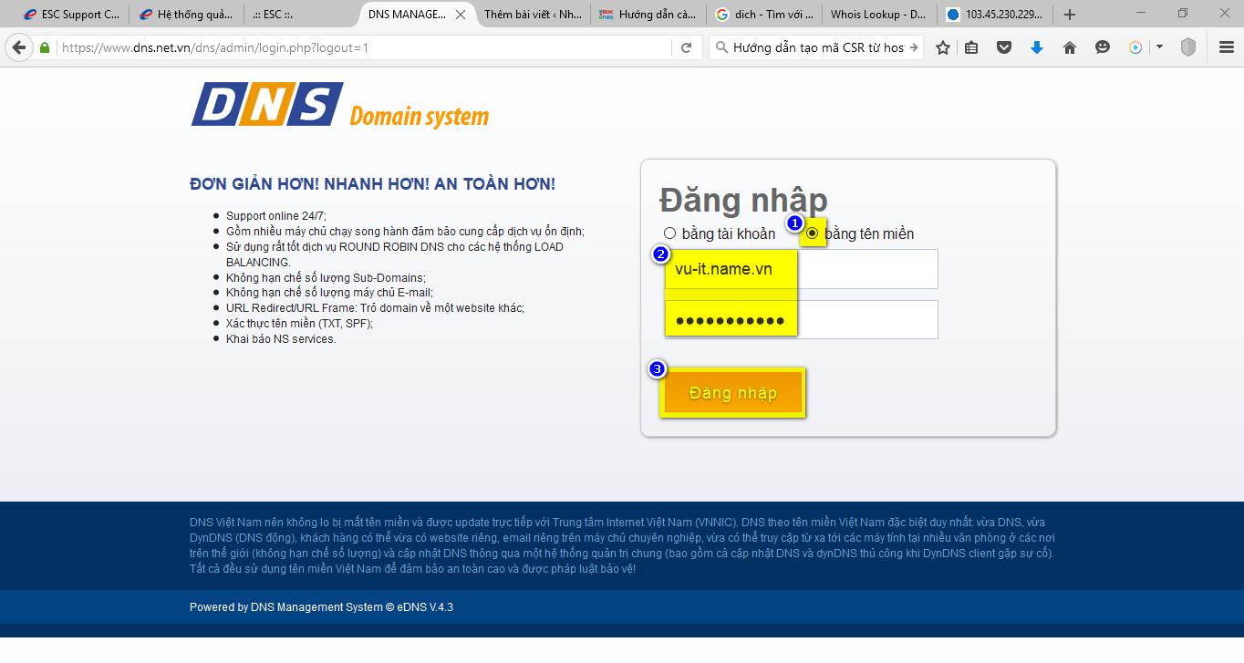 Hướng dẫn tạo tên miền phụ (subdomain) trong DNS ESC