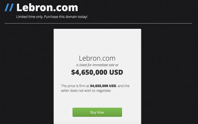 LeBron.com có giá trị bằng cả gia tài