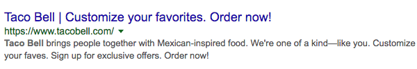 meta description taco bell