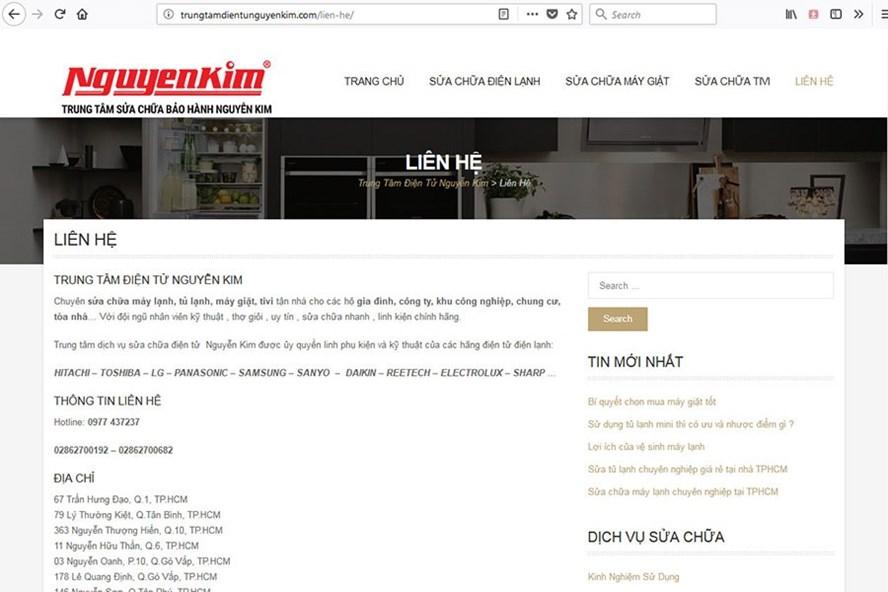 Trang Web giả mạo CP thương mại Nguyễn Kim. Ảnh: Nguồn BCT